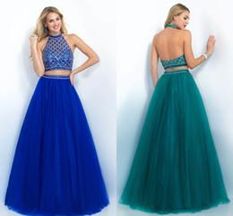 Deux morceaux 2017 Blue Prom Dresses Blush Long Neck Neck Neck manches perlée Longueur de plancher perlage une ligne de robes de partie Pagent HY00509 à partir de robes de pagent perles fournisseurs