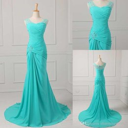 Wholesale Best Selling Mermaid V neck Floor Length Turquoise Chiffon Cap Sleeve Prom Dresses Beaded Pleats Discount Prom Gowns Formal
