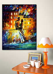 Night Date Romantic Lover at Balcony Palette Knife Oil Painting Canvas Picture Modern Home Hotel Cafe Wall Decor