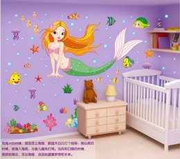 "Free Shipping 170x105cm (67""x41"") Mermaid Princess Sticker Wall Decals Home Decor Vinyl Stickers For Girls Room"