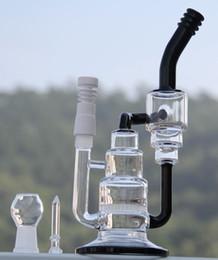 Nid d'abeille recycleur en Ligne-Tuyaux d'eau Bong en verre avec nid d'abeille Plateformes pétrolières en verre recouvrant la moutarde Verre en verre 18,8 mm Joint en verre clou d'ongle et clou en céramique