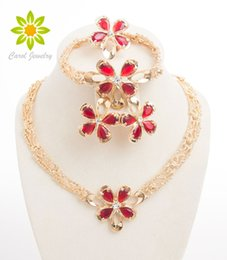New Fashion Women Gold Plated Jewelry set Costume Red Austrian Crystal Necklace Earring Bracelet Ring Wedding Accessories African Beads