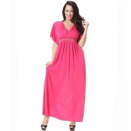 Summer Pink Long Dress Dressses Vintage Plus Size Uk Ice Silk Batwing Sleeve Pong Dress For Large Woman Party Gowns Dresses