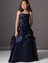 Eye-Catching Navy Blue Satin Spaghetti Sleeveless Floor-Length Ruffle Zipper Ball Gown Satin Flower Girls' Dresses Custom made