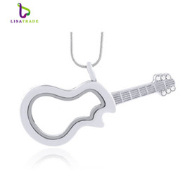 2016 Hot !! Silver Guitar magnetic glass floating charm locket Zinc Alloy(chains included for free)LSFL036-1