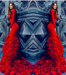 Wholesale Celebrity Slim Prom Dresses - Amazing Red Petals Trailing Evening Dresses 2016 Crew Long Sleeve Slim Fit Prom Dresses Lace Up Back Sweep Train Celebrity Formal Gowns