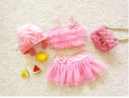 Best Seller Kids Swimwear for Girls Children Three-piece Swimming Suit with Tulle Skirt and Hats Children Swimming Clothes