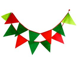 12 Flags - 3.2M Felt Fabric Banners Personality Christmas Bunting Decor Candy Red Party Birthday Felt Garland Decoration