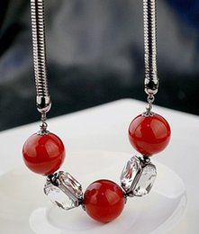red agate beads white silver chain lady's necklace (nnsssp)