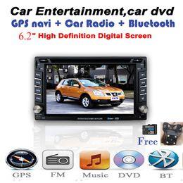 El jugador del sd para la televisión en venta-2 din coche reproductor de DVD GPS MP5 / MP4 USB / SD Bluetooth FM / AM Radio audio del coche para Nissan BMW / Mazda / Opel / VW / Honda / Skoda / Golf Univreal 6.2 pulgadas TFT
