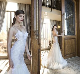 2016 New Sexy Backless Mermaid Lace Wedding Dresses Spaghetti Straps Berta Wedding Gowns White Formal Dresses Long Tulle Bridal Gowns