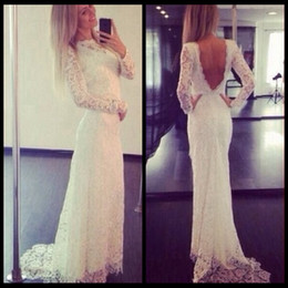 Sexy Romantic 2020 Sheer Neck Mermaid Lace Wedding Dress Sweep Train Open Back Wedding Dresses With Long Sleeve Custom Made