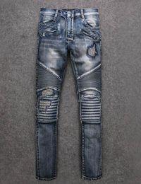 2017 Famous Brand Paris mens Destoryed biker denim ripped jeans New Men blue Biker Jeans High Quality