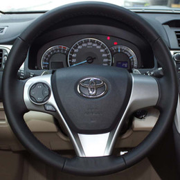 Case for Toyota CAMRY 2012 Steering wheel covers Genuine leather DIY Hand-stitch Car styling Interior decoration