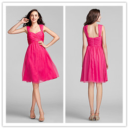 2015 in stock fuchsia square backless ruffle knee length chiffon short prom dresses high quality
