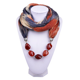 Wholesale China Scarf Jewelry for Women Personality Gradient Print Soft Wool Ring Scarf Necklace with Irregular Stone Charms Pendant Scarves SC150164