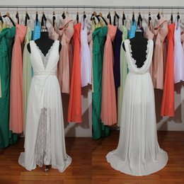 2015 Real Hot Wedding Dresses V neck Lace Lining Hot Backless Chiffon Fabric A line Bridal Party Gowns Custom made