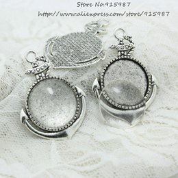 Wholesale 8 set Antique silver Alloy Anchor Blanks mm Fit mm dia Round Pendant Setting Cabochon Clear Glass Cabochons D0705