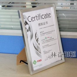 Wholesale Aluminum alloy silver picture frame a4 certificate frame business license frame box