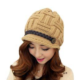 Wholesale S5Q Women Beanie Knitting woolen yarn cap Warm Winter Rageared Baggy Crochet Caps Cute Skiing Hat AAADYW