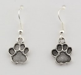 Hot ! Earring , 15 pair Antiqued Silver Paw Print Charm Earrings With Fishhook Ear Wire 12 X 32mm