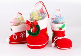 Wholesale Santa Boots Decorations - Christmas Tree Decoration Hanging Xmas Bag Christmas Boots Candy Box for Kids Children Party Bags Boys Girls Santa Boot Shoes Stocking