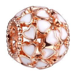 Wholesale ROSE Gold Heart Copper Material Big Hole Loose Beads charm For DIY Jewelry Bracelet For European Bracelets DY41