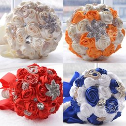Wholesale 2015 Cheap Bridal Artificial Wedding Bouquet Wedding Decoration Bridesmaid Flower Crystals Silk Rose Cream Orange Red Royal Blue Red WF036