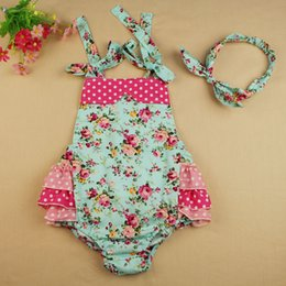 Wholesale New arrival summer baby girls kids ruffle bubble romper headband set baby cute clothes newborn diaper cover