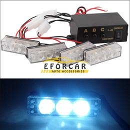 12 LED Car Truck Strobe Emergency Warning Lights Flash Light Lights 12V 3 Flashing Modes Blue+Red