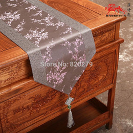 Chinese knot Patchwork Festive Luxury Decorative Table Runners Damask Cherry blossoms End Table Cloth High Grade Bed Runner