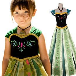 Nouvelles robes de filles de noël à vendre-New Hot Girls Frozen Dobby Party brodé robes sans manches Green Baby Vêtements Enfants Dresss Cadeau de Noël pour les filles de haute qualité