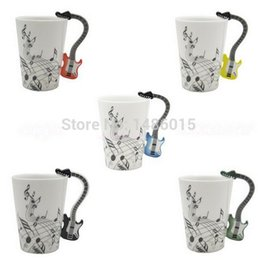 New Creative Guitar Music Handgrip Mug Ceramic Mugs 300ml Coffee Cup novelty gift lovers water cups bottle trinket novelty items