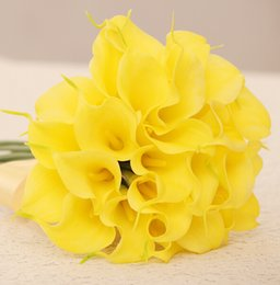 Wholesale Bride flowers PU Real Touch Yellow Mini Calla Lily For Wedding Bouquet