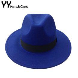 Wholesale Men s Wool Felt Snap Brim Hat Trilby Women Vintage Wool Panama Fedora Cloche Cap Wool Felt Jazz Hats colors YY0397