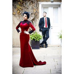 2015 High Neck Long Sleeve Muslim Evening Dresses Mermaid Dark Red Velvet Appliques Black Floor Length evening Gowns