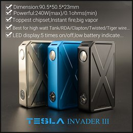Vaporizador de pantalla led en venta-Original Tesla Invader III Caja 240W LED Display Fit 18650 Batería Varios colores Box Vaporizador Fit 510 Sub-ohm DHL Free
