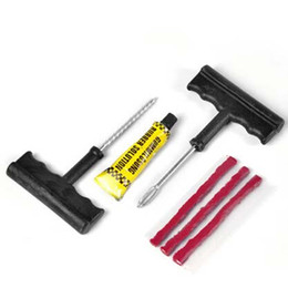 Repara coches en Línea-10 conjuntos e 6PCS por Set coche de seguridad para bicicleta Auto Tubeless Neumático Punción Plug Tool Kit de reparación en stock