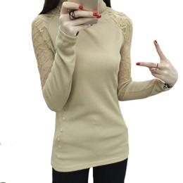 2016 Autumn Winter T shirt Women Turtleneck Lace Splicing Sleeve Bottoming wear Sexy Sweet Slim Long Sleeved Shirt Plus size