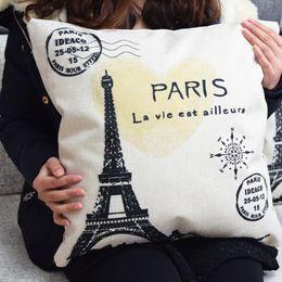 Wholesale Vintage Paris eiffel tower pillow cushion cover Pillow Case home decoration chair decoration for Home Decor Sofa Pillowcase