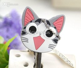 Wholesale-Kawaii Japan Chi's CAT 4CM Rubber KEY Cover Chain Pendant Hook Cap Case ; Key Cover Coat Wrap Coat Cover KEY CAP Key Chain