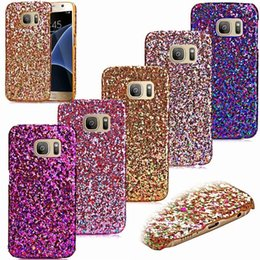 Wholesale Fashion Glitter Bling Hard Case Veneer Gluing Leather Shiny Sparkle For Samsung Galaxy S7 EDGE G930 G9350 LG G5 H850 Skin Colorful Cellphone
