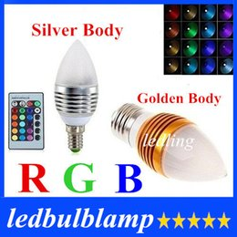 High Power 5W RGB Led Bulbs Light Candle Lamp Frosted Cover E27 E14 E12 Led Lights Multi Color Change + 24 Keys Remote Control