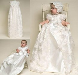 Wholesale Satin Ruffle Baby Dress - Custom Made Christening Dresses Lovely High Quality Taffeta Baptism Gown Lace Jacket Christening Dresses with Bonnet for Baby Girls and Boys