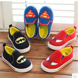 Spring and Autumn BatMan SuperMan SpiderMan Canvas Children Shoes Shoe Kids Male Slip-On Slip Kids Fashion Casual Shoes