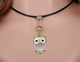 Vintage Silver Enamel Yellow Owl Charms Genuine Leather Necklaces Pendant Brand Collar Statement Choker For Women DIY Jewelry 10pcs A005