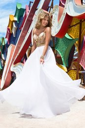 Wholesale Charming Gold White Prom Dresses Sweetheart Backless Chiffon Special occasion Women Formal wear Hill Gowns Custom made Dress Party WWL