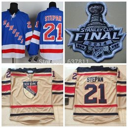 2014 Stanley Cup New York Rangers Hockey Jerseys #21 Derek Stepan Jersey Home Royal Blue Road White Third Navy Stitched Jerseys