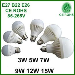 Wholesale E27 B22 LED Global Bulbs W W W W W W SMD Cool Warm White AC85 V High Brightness Energy Saving Light CFL Replacement Lighting