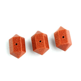 Charm Opal Gold Sand etc Natural Stone Hexagon Prism Jewelry Findings Accessories Diy Jewelry Making 10pcs